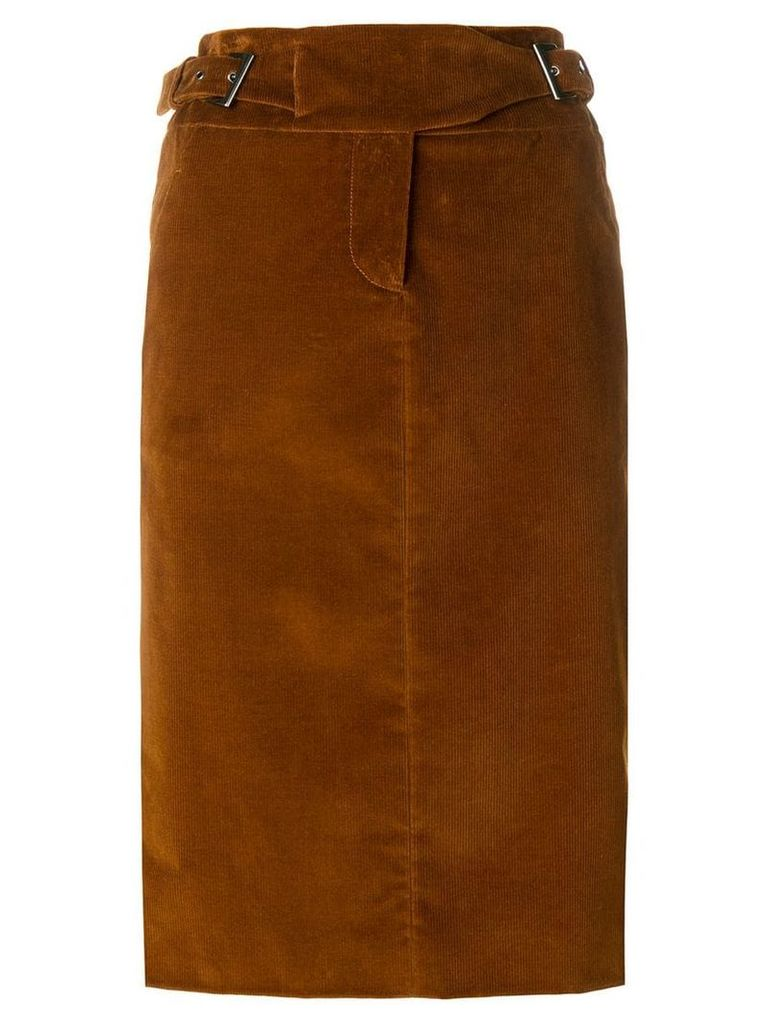 Alberta Ferretti buckle straps midi skirt - Brown