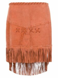 Andrea Bogosian leather short skirt with fringes - Neutrals