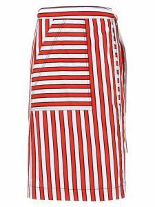 Reinaldo Lourenço striped skirt - Red