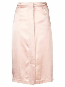 Fleur Du Mal Hammered Silk Placket Front Skirt - Pink