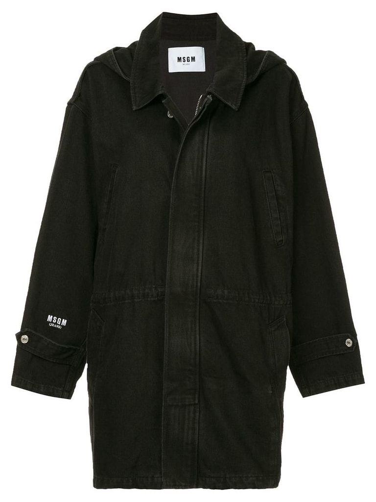 MSGM denim parka coat - Black