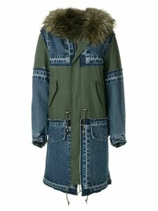 Furs66 hooded patchwork parka - 060