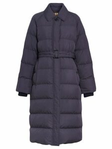 Burberry Belted Long Down-filled Puffer Coat - Blue