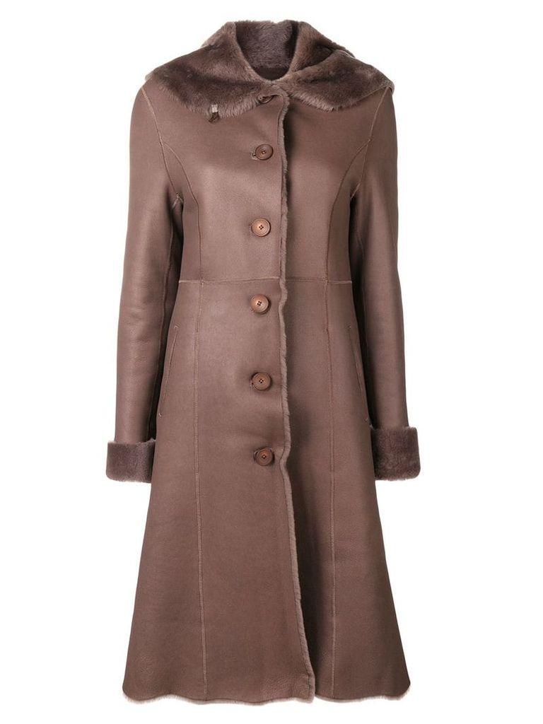 Liska fur trim trench coat - Brown