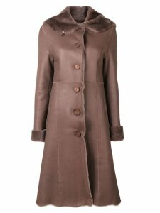 Liska fur trim trench coat - Brown