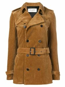 Saint Laurent corduroy trench coat - Brown