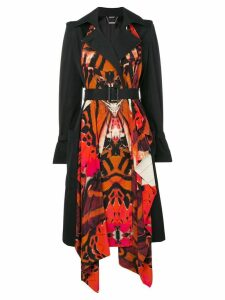 Alexander McQueen butterfly print trench coat - Black