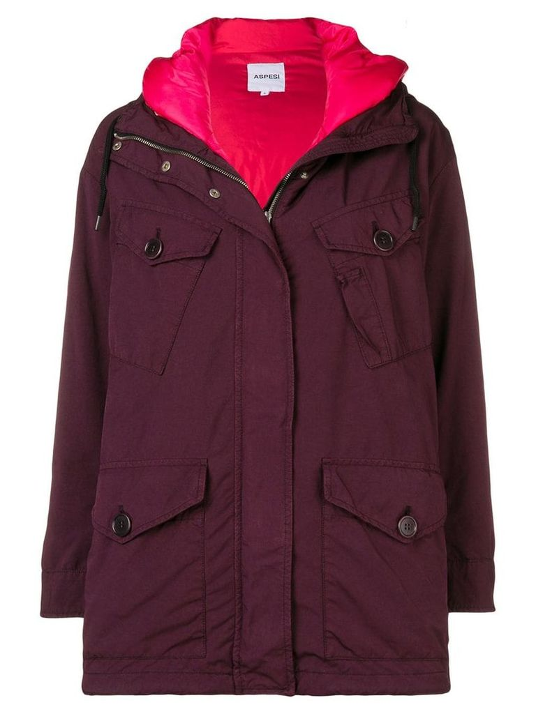 Aspesi oversized raincoat - Red