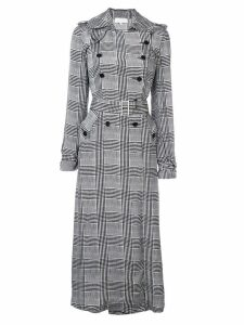 Fleur Du Mal long check trench coat - Black