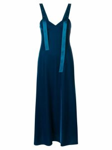 Off-White asymmetric shoulder strip dress - Blue