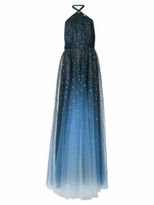 Marchesa Notte Ombré glitter tulle halter gown - Blue