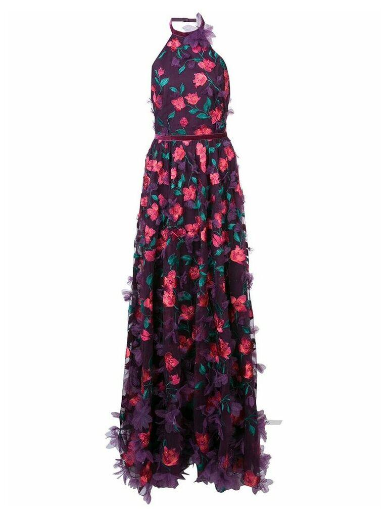 Marchesa Notte 3D floral halter neck gown - Pink