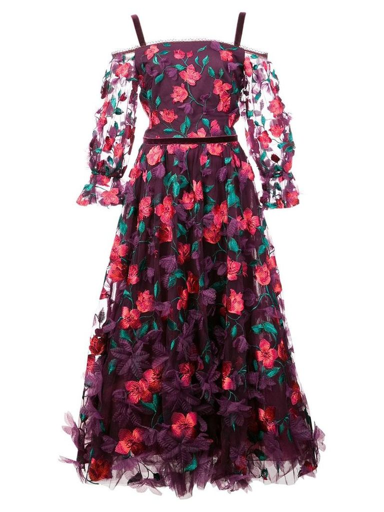 Marchesa Notte 3D floral midi dress - Pink