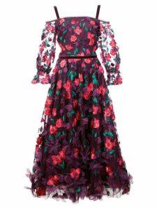 Marchesa Notte 3D floral midi dress - Pink
