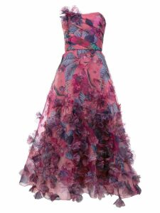 Marchesa Notte floral print strapless ball gown - Pink
