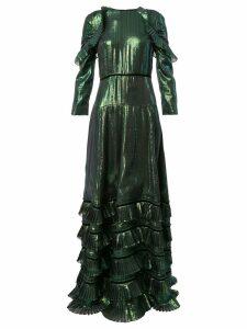 Huishan Zhang metallic ruffled dress - Green