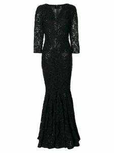 Talbot Runhof long crochet V-neck dress - Black