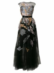 Talbot Runhof floral embellished tulle dress - Black