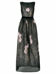 Talbot Runhof magnolia embellished long dress - Black