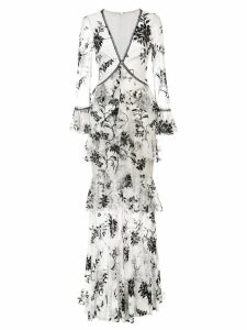 Marchesa Notte embroidered floral lace dress - White