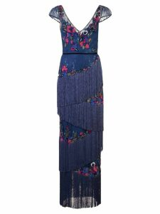 Marchesa Notte fringe & lace detailed gown - Blue
