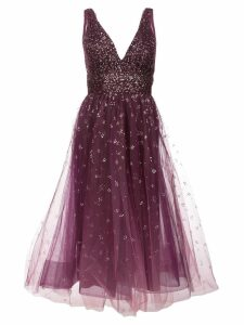 Marchesa Notte plunge neck foil dress - Pink