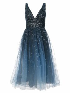 Marchesa Notte plunge neck midi foil dress - Blue