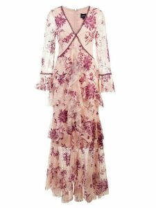 Marchesa Notte plunge neck flocked lace gown - PINK