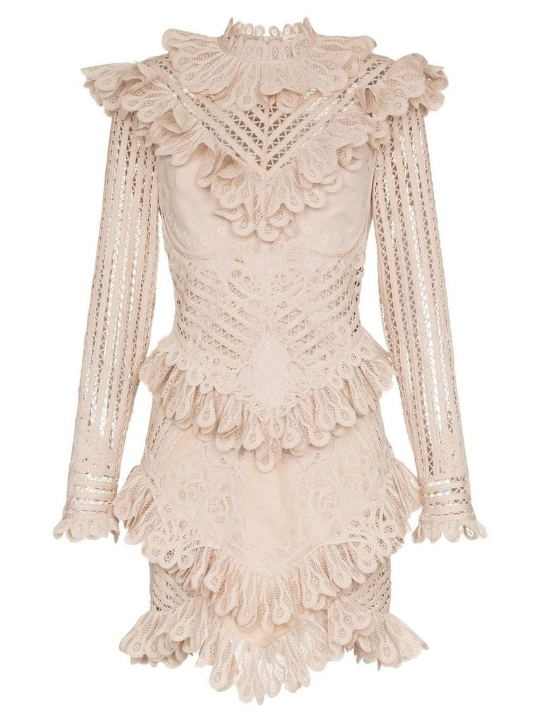 Zimmermann unbridled battenburg lace mini dress - Neutrals