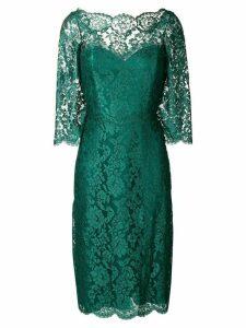 Rhea Costa floral lace pattern midi dress - Green