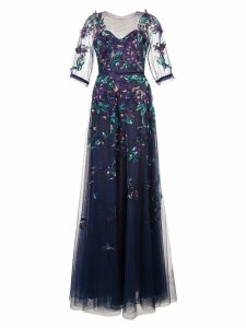 Marchesa Notte embroidered tulle ball gown - Blue