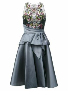 Marchesa Notte embroidered top flared dress - Grey