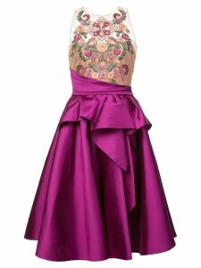 Marchesa Notte embroidered top flared dress - Pink