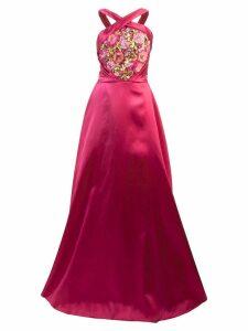 Marchesa Notte embroidered halterneck ball gown - Pink