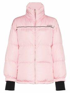 Prada Puffer Jacket With Logo Strap - Pink