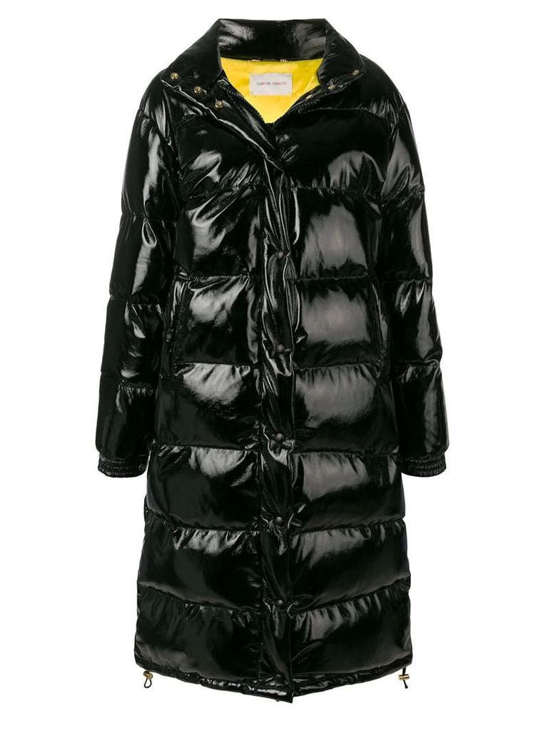 Alberta Ferretti oversized embroidered logo puffer jacket - Black