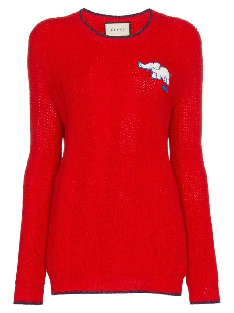 Gucci Elephant Embroidered Wool Jumper