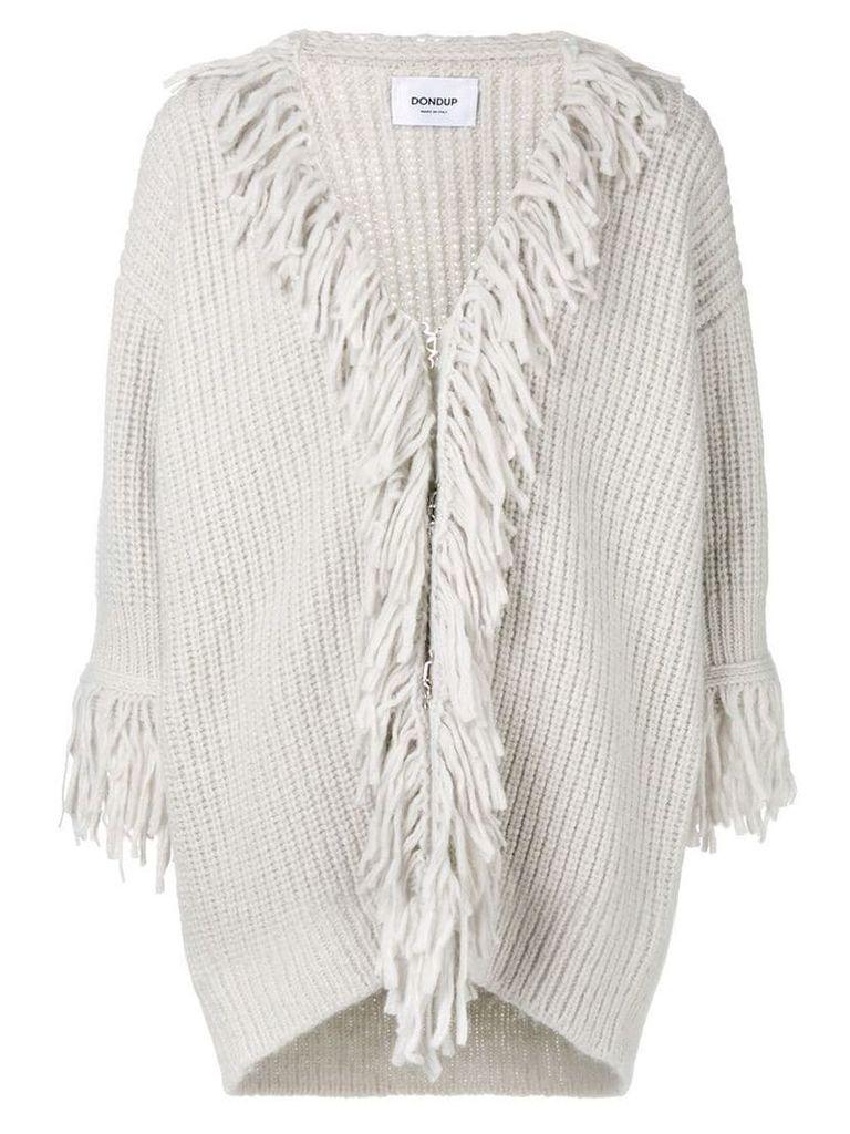 Dondup fringe embellished cardi-coat - Grey