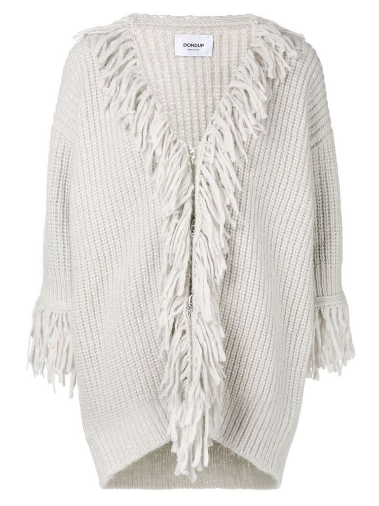 Dondup fringe embellished cardi-coat - Grey