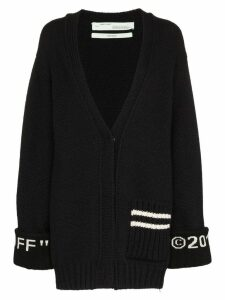 Off-White logo cuff knit cardigan - Black