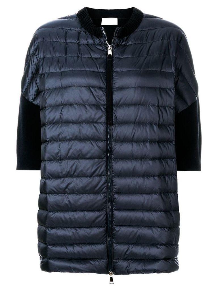 Moncler short sleeve padded front cardigan - Blue