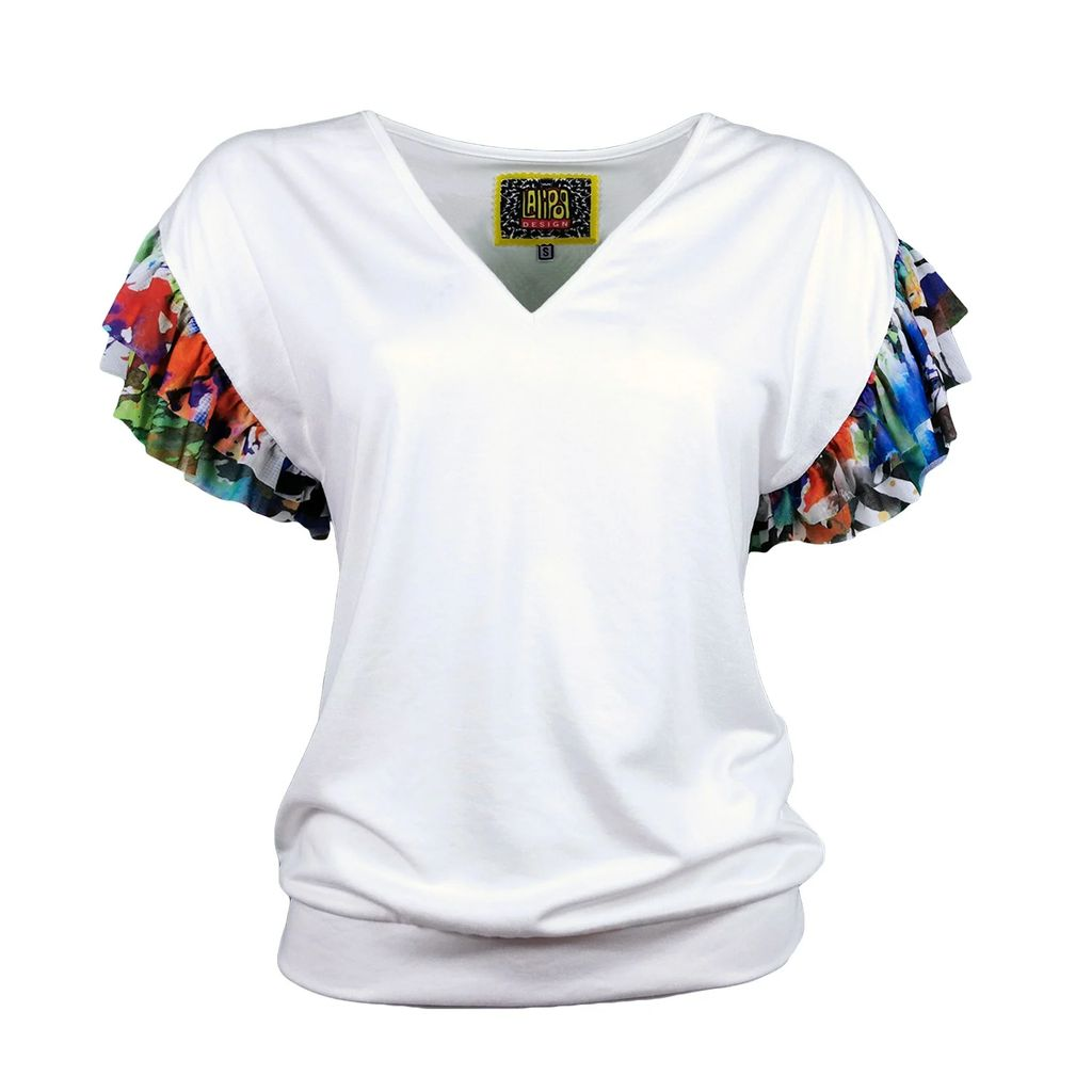 CoCo VeVe - Pearl Wrap Dress in Black with Geranium Planet Print Detail