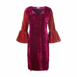 At Last. - Belle Silk Velvet Dress Pink and Red Graphic