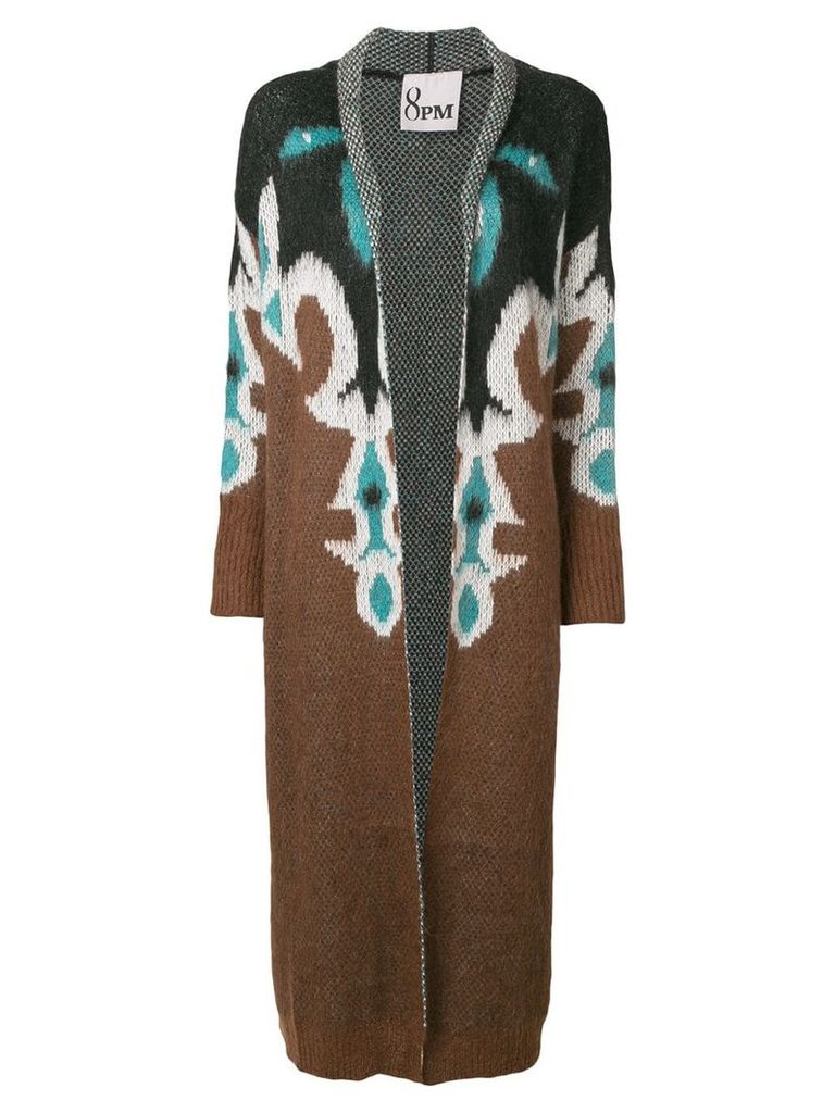 8pm long printed cardigan - Brown