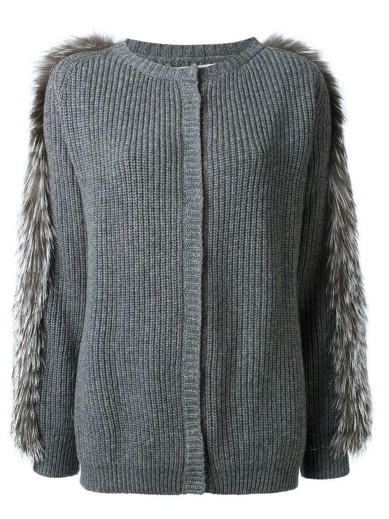 Liska fox fur trim cardigan - Grey