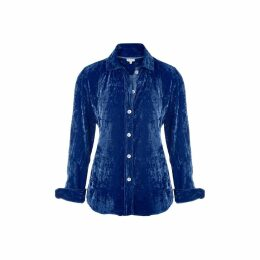 At Last. - Karen Silk Velvet Shirt Royal Blue