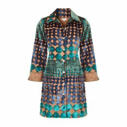 At Last. - Amanda Silk Velvet Shirt Turquoise Boho Spot