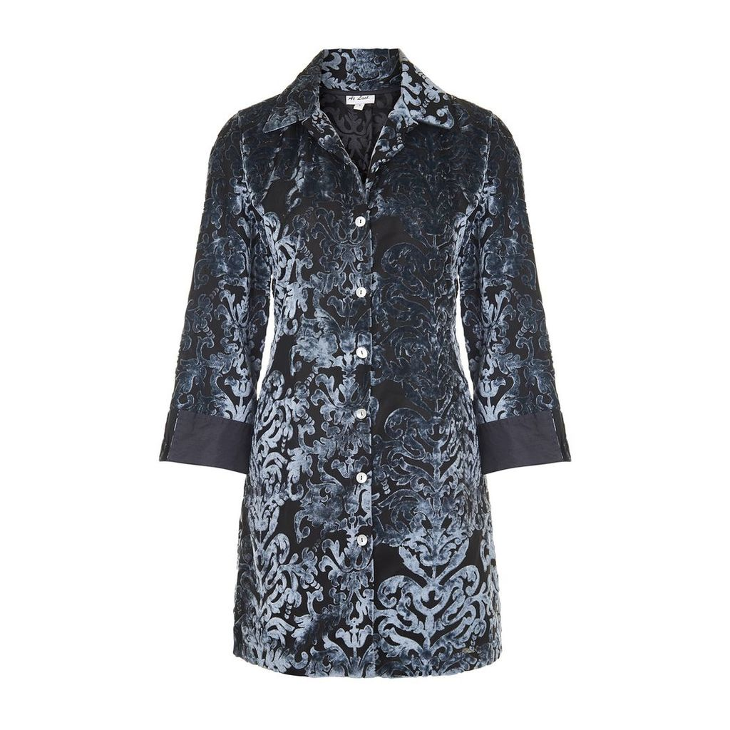 At Last. - Amanda Silk Velvet Shirt Grey Boho Flower