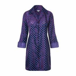 At Last. - Amanda Silk Velvet Shirt Purple Spot