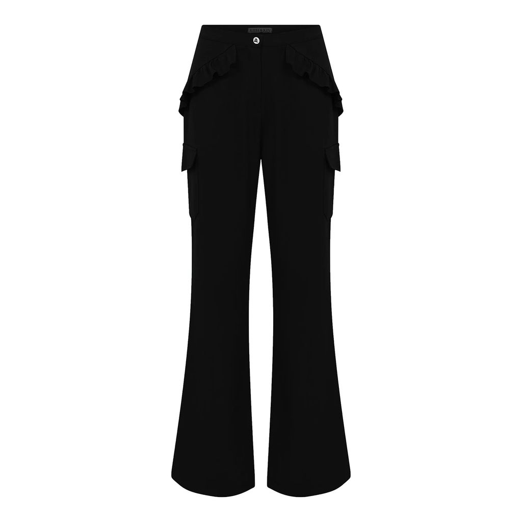 Sophie Cameron Davies - Black Cotton A-Line Midi Skirt